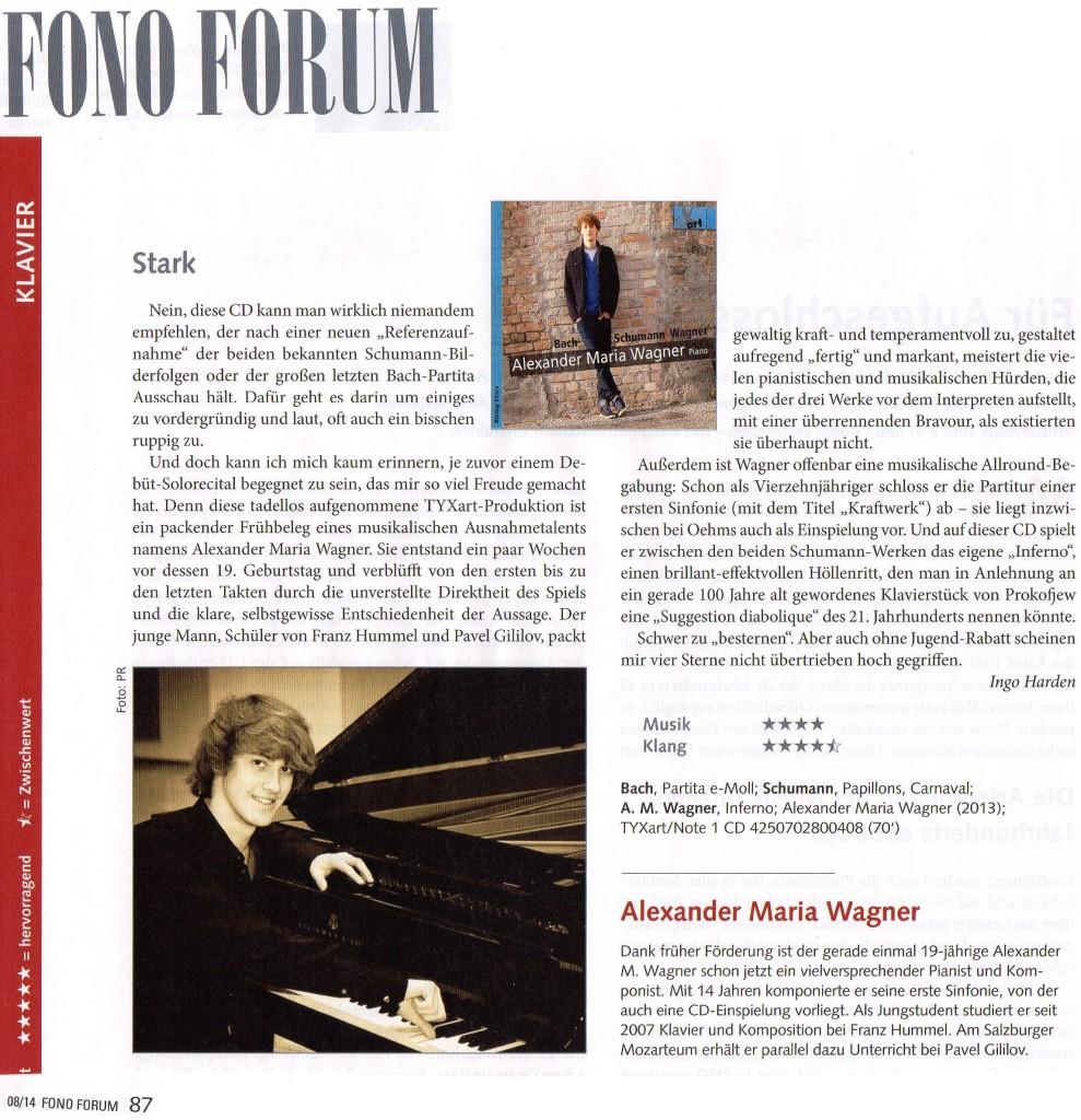 Fono Forum über die neue CD von Alexander Maria Wagner